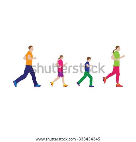 Running family. Active family. Family sports. Illustration, elements for design. - stock vector