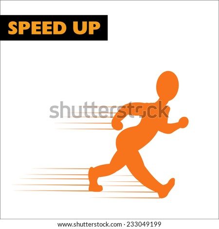 Running figure. Vector illustration. - stock vector