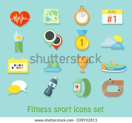 running fitness sport icons. Healthy life set - stock vector