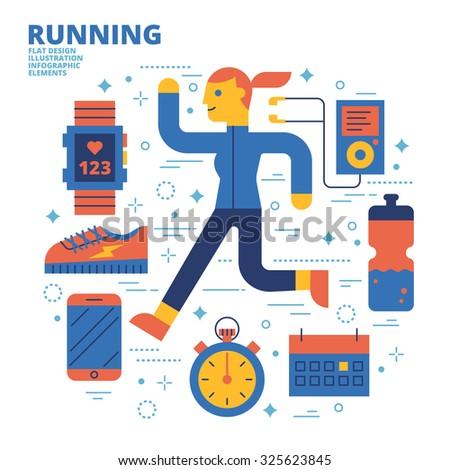 Running, Flat Design, Illustration - stock vector