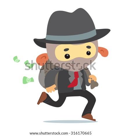 Running Gangster - stock vector
