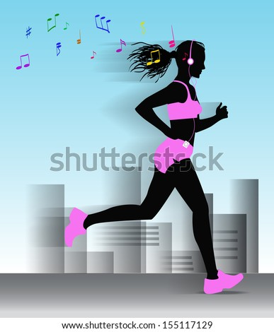 Running girl runs through the city and listen to music on the player. - stock vector