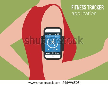 Running girl with a smartphone attached to the shoulder. Sports or fitness tracking app for running people. Vector illustration - stock vector