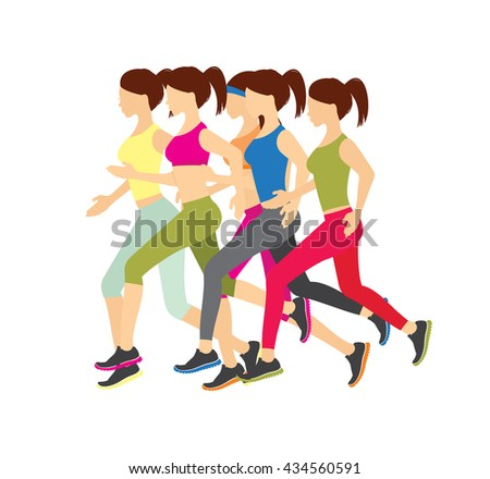 Running girls vector illustration