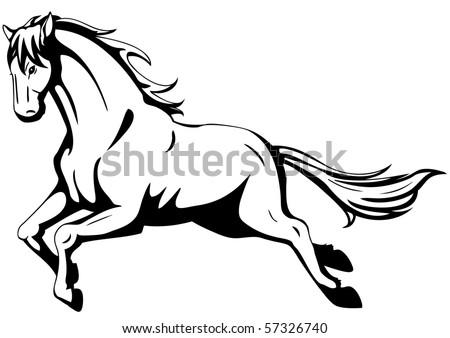running horse - stock vector