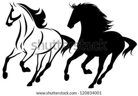 running horse black and white outline and detailed silhouette - stock vector