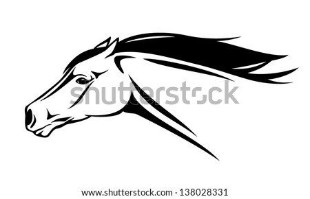 running horse head vector illustration - black and white realistic outline - stock vector