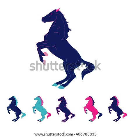 Running horse. Set of colorful and multicolor silhouettes. Vector illustration. - stock vector