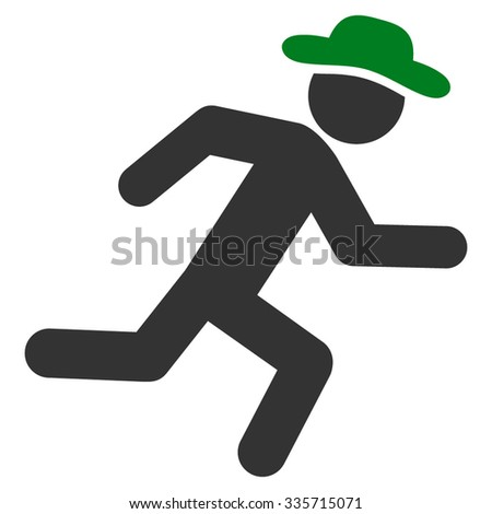 Running Human vector icon. Style is bicolor flat symbol, green and gray colors, rounded angles, white background. - stock vector