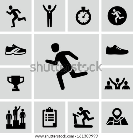 Running icons - stock vector