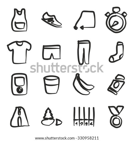 Running Icons Freehand  - stock vector
