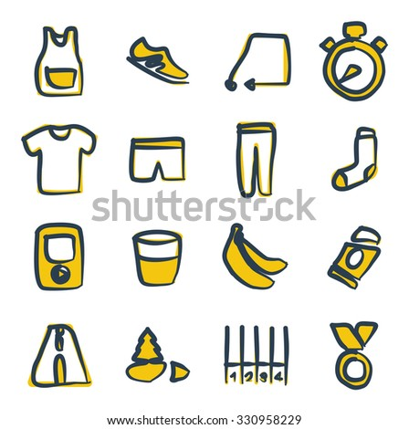 Running Icons Freehand 2 Color - stock vector