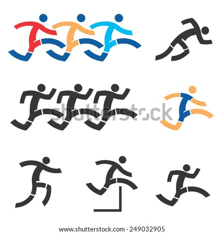 Running icons. Set of black an colorful running icons.Vector illustration.