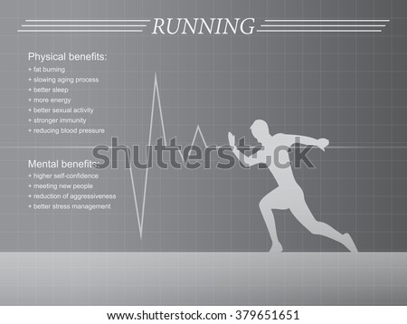 Running infographic with man silhouette