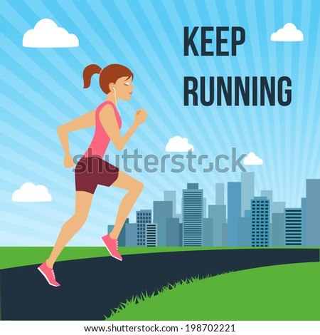 Running jogging attractive woman on city skyline background poster vector illustration - stock vector