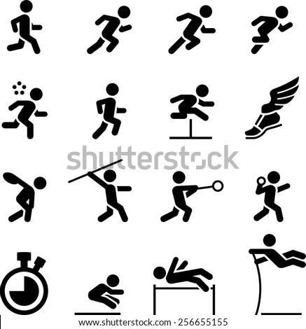 Running, jumping and throwing icons. Vector icons for digital and print projects. - stock vector