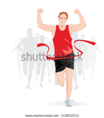 Running, male runner in red and black outfit crossing the finish line, vector illustration - stock vector