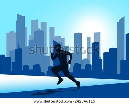 running man against the city. silhouette of the sprinter - stock vector