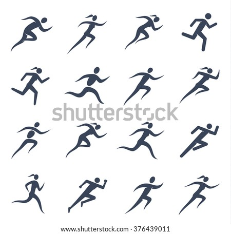 Running man and woman icons for sport tournaments, organizations, marathons and running clubs