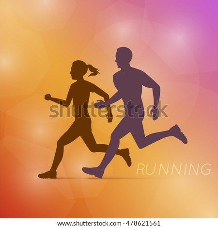 Running Man And Woman On Triangulated Background. Polygonal Art. Modern Design Vector Illustration