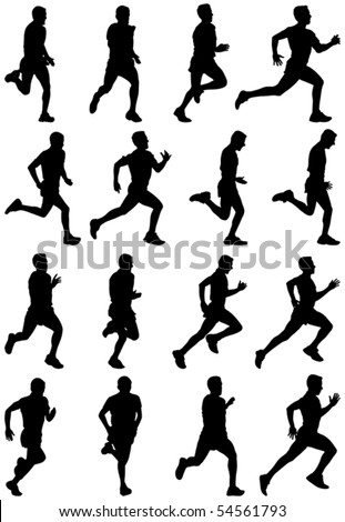 Running man black silhouettes, sixteen different postures - stock vector