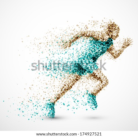 Running man from circles, eps 10. - stock vector
