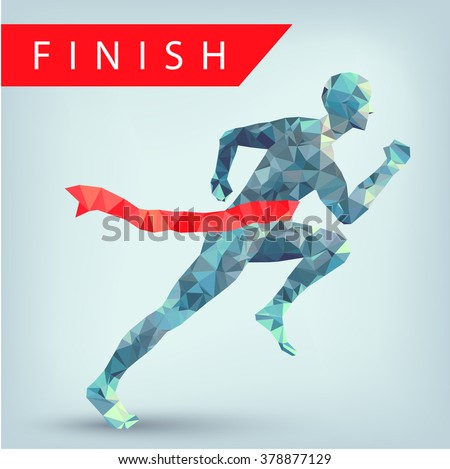 Running man from triangles, low poly style, eps 10. Winner at finish line illustration. Leadership concept. - stock vector