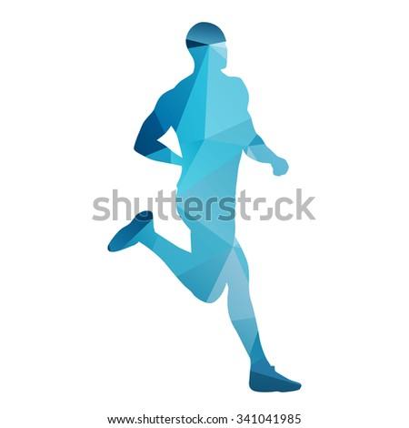 Running man. Geometrical vector silhouette - stock vector