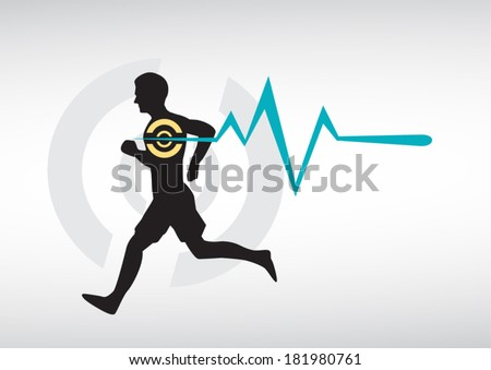 Running Man Heartbeat Vector - stock vector