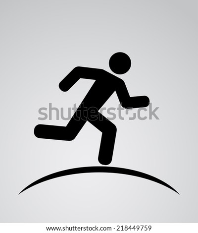 running man icon background - stock vector