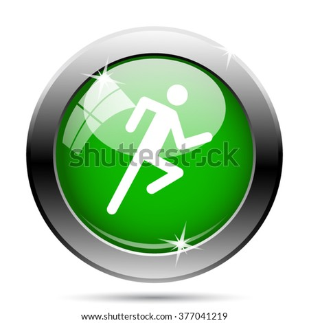 Running man icon. Internet button on white background. EPS10 vector.