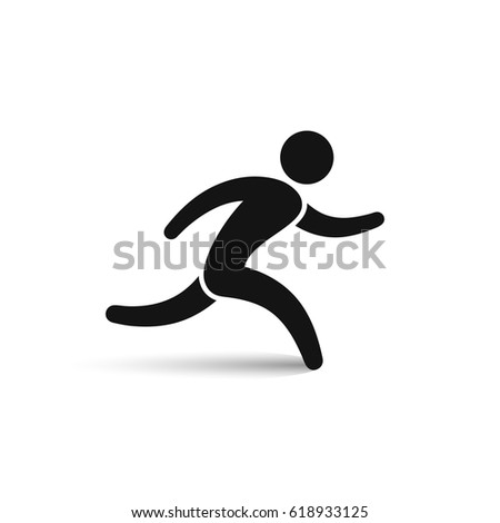 Running man icon, vector isolated simple silhouette, run symbol.