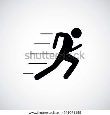 Running man icon white black silhouette - stock vector