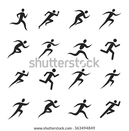 Running man icons for sport tournaments, organizations, marathons and running clubs.