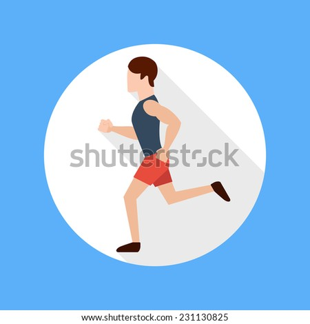Running man in flat design style. Keeping fit exercises and jogging - stock vector
