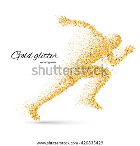 Running Man in the Form of Gold Particles on White - stock vector
