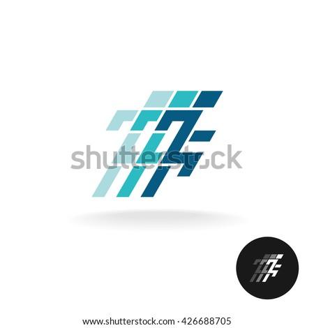 Running man logo. Running athlete symbol in corner square style. - stock vector