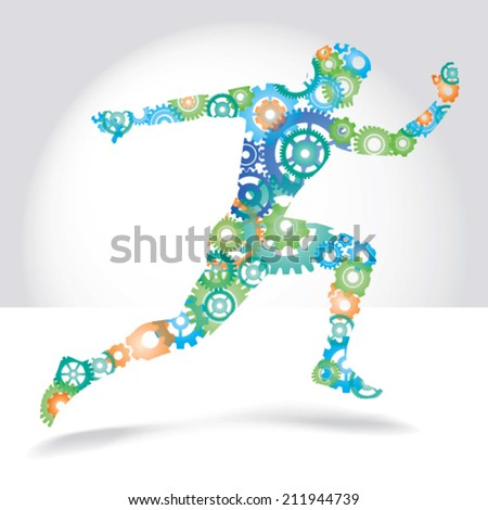 Running man made color gears vector illustration - stock vector
