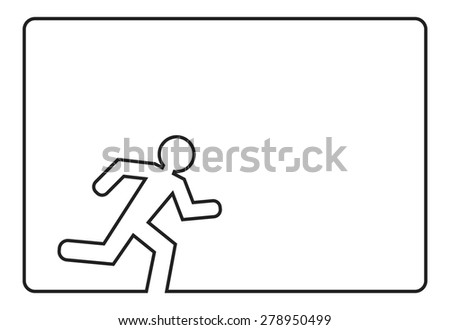 running man outline background concept - stock vector