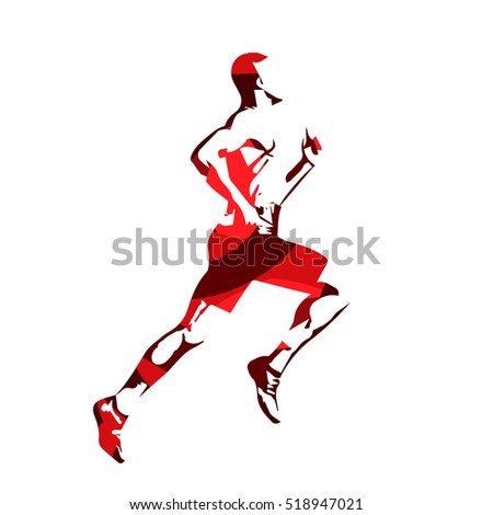 Running man, red abstract vector silhouette