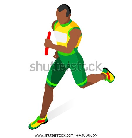 Running Man Relay of Athletic 2016 Summer Games.Speed Concept.3D Isometric Athlete.Sport of Athletics.Sporting Competition Race Runner.Sport Infographic Track Field olympics Vector Illustration. - stock vector