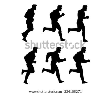 Running Man Silhouette Animation Sprite - stock vector