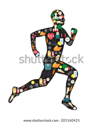Running man silhouette filled with sport icons. Vector illustration on white background. - stock vector