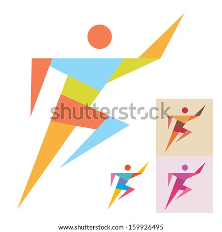 Running Man - Sport Sign - Vector Logo Template. Human logo. Human icon. Human character illustration. Design element.  - stock vector