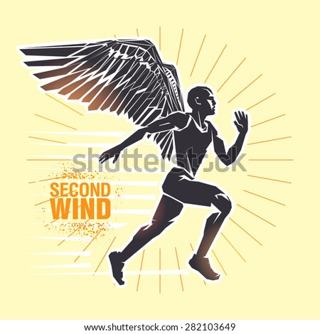 "Running man. Vector illustration created in topic ""Second wind ""  - stock vector"