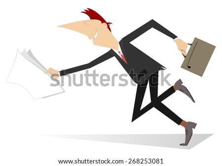 Running man with papers and bag - stock vector
