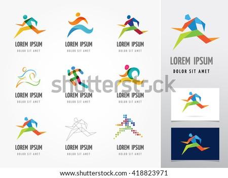 Running marathon, people run, colorful icon set - stock vector