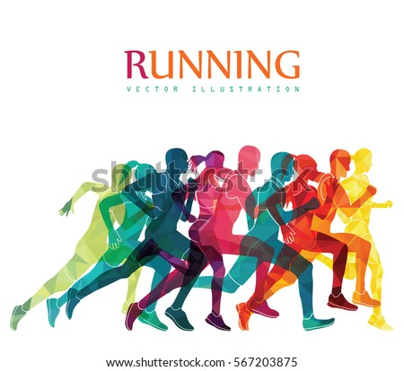 Running Marathon People Run Colorful Poster Stock Vector ...