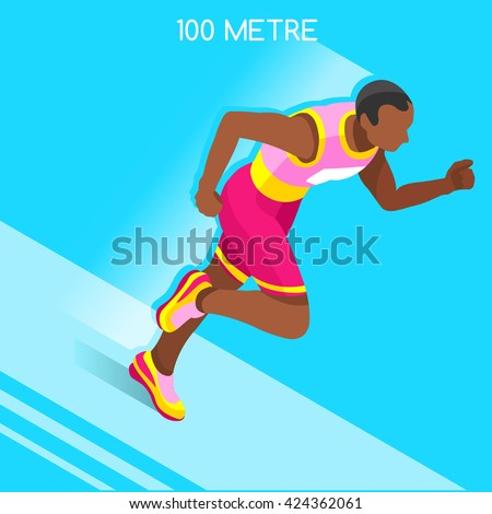 Running 100 Metres Dash Athletics 2016 Summer Games.Speed Concept.3D Isometric Athlete.Sport of Athletics.Sporting Competition Race Runner.Sport Infographic Track Field olympics Vector Illustration. - stock vector