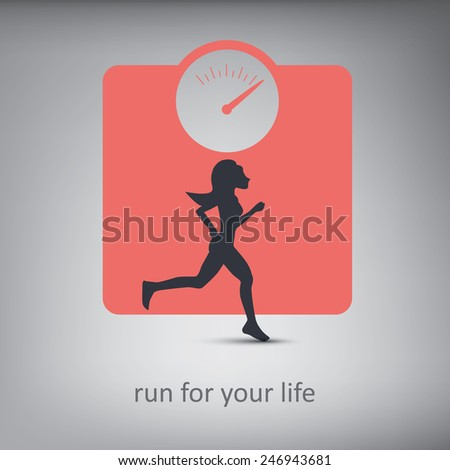 Running or jogging concept illustration with silhouette of a person with healthy lifestyle symbol in background. Eps10 vector illustration. - stock vector
